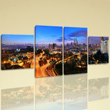 Large Architecture Picture Cityscape Hd Print On Canvas Dining Room 4 Panels