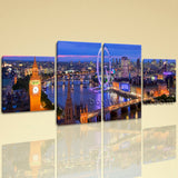 Large Architecture Wall Art Cityscape On Canvas Tetraptych Pieces Print