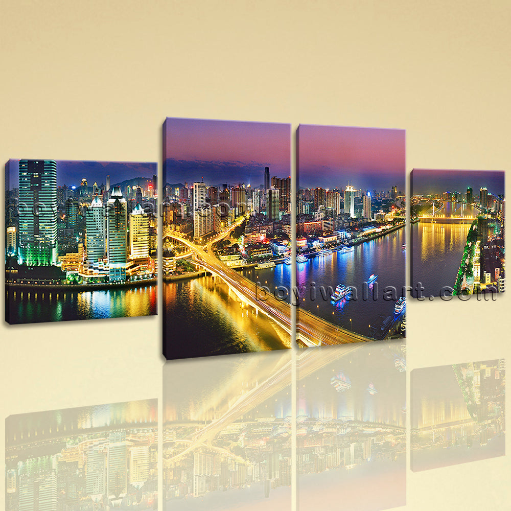 Large Architecture Painting Cityscape Print Photography Dining Room ...
