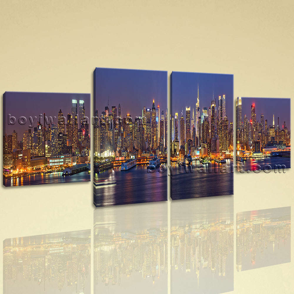 Large Architecture Wall Art Cityscape Hd Print Canvas Dining Room 4 Pieces