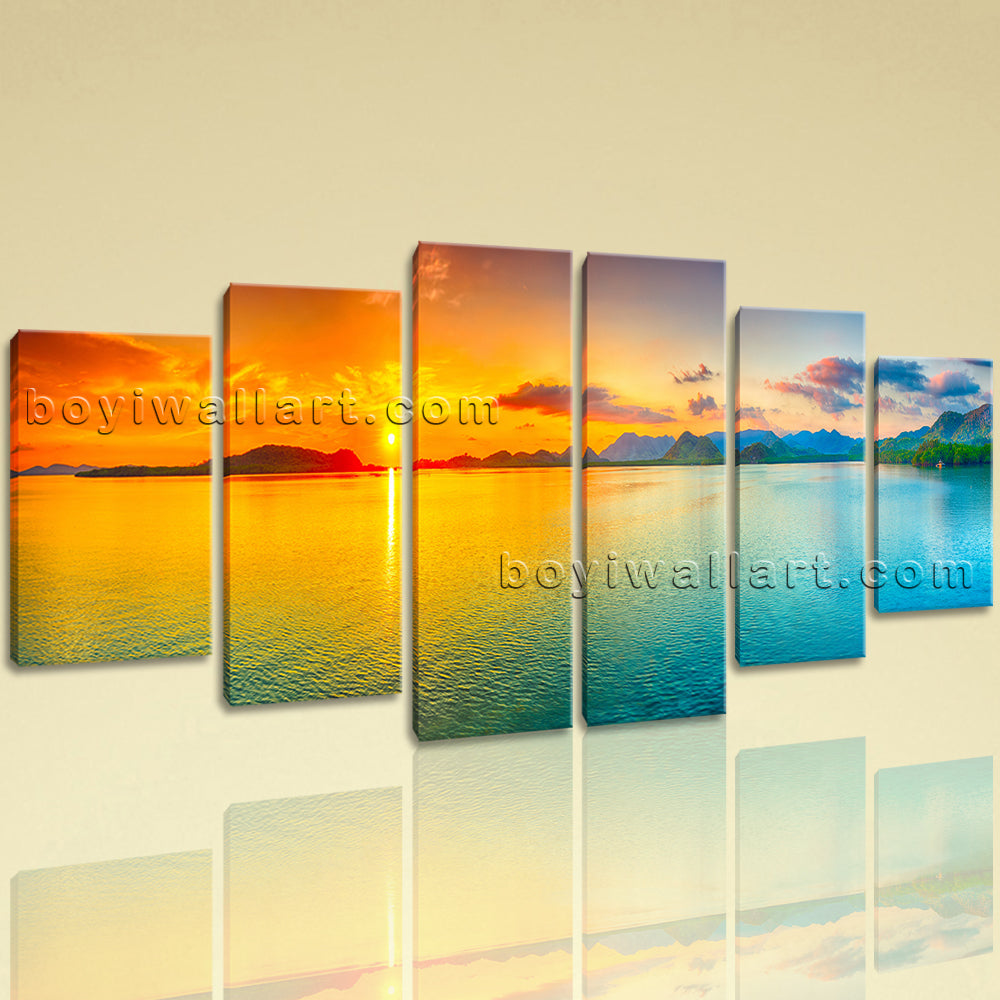 Extra Large Landscape Wall Art Sunset Canvas Dining Room Hexaptych ...