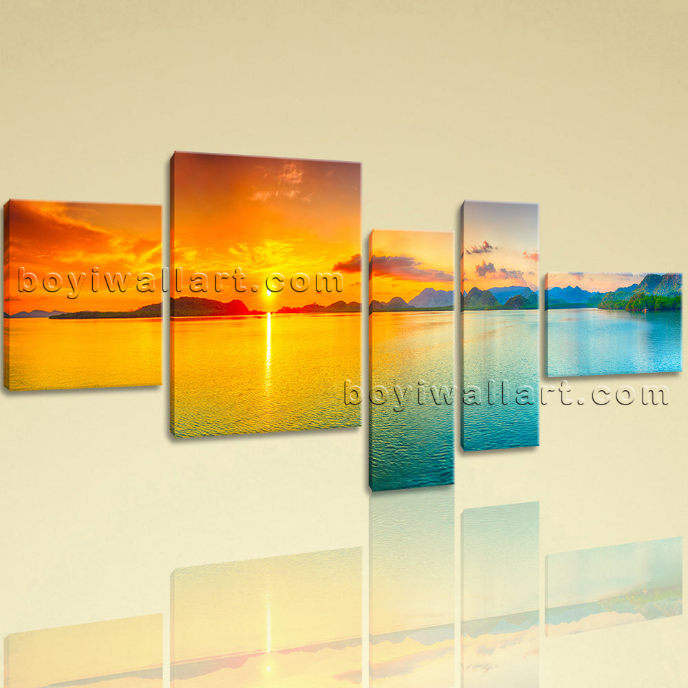 Extra Large Landscape Wall Art Sunset Decor Home Bedroom 5 Pieces ...