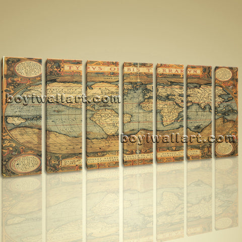 Xxl Large Canvas Hd Print Wall Art Retro Atlas Old World Map Vintage Burned
