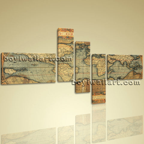 16Th Century World Global Old Map Burned Ocean Retro Atlas Print Canvas Wall Art