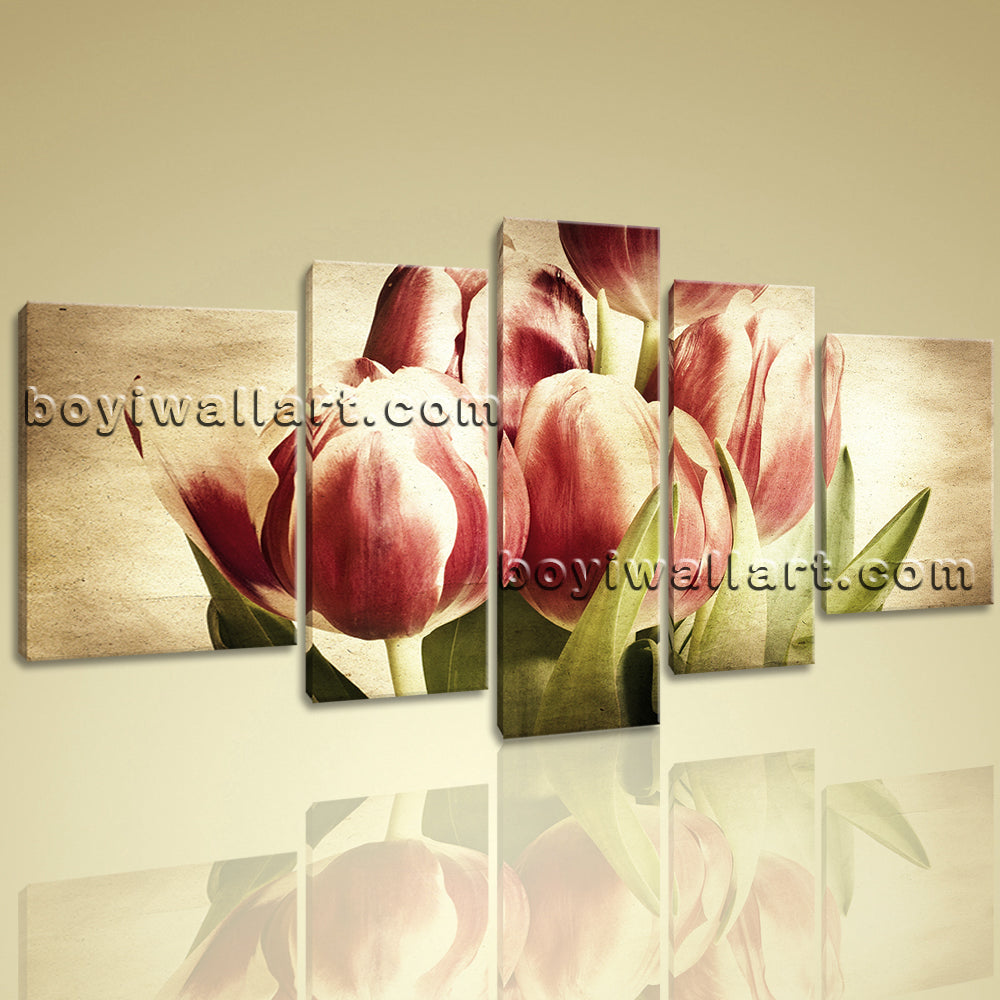 Xxl Large Wall Art Print Canvas Retro Tulip Flower Blossom Abstract ...
