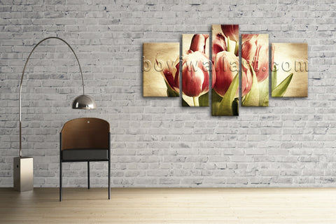 Xxl Large Wall Art Print Canvas Retro Tulip Flower Blossom Abstract Home Decor