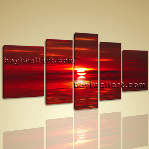 Xxl Large Red Abstract Seascape At Night Sunset Glow Contemporary Wall Art Print
