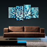 Large Contemporary Abstract Floral Wall Art Print On Canvas Aqua Flower Petals