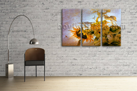 Classic Sun Flower Painting Giclee Print On Canvas Stretched Ready To Hang