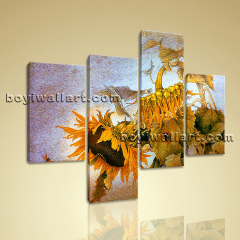Large Floral Wall Art Sunflower Abstract Painting Living Room Four Pieces Print