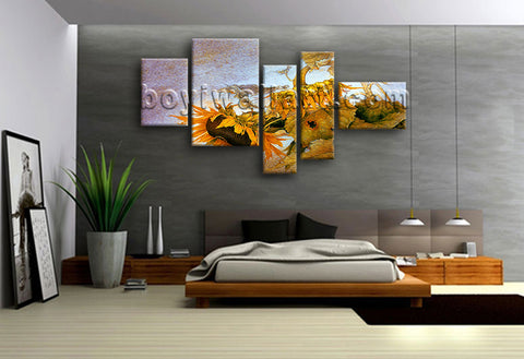 Extra Large Floral Hd Print Sunflower Picture Abstract Painting Bedroom 5 Pieces
