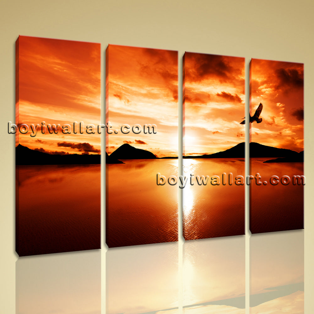 Large Contemporary Wall Art Print Sunset Glow Landscape Flying Eagle Home Decor
