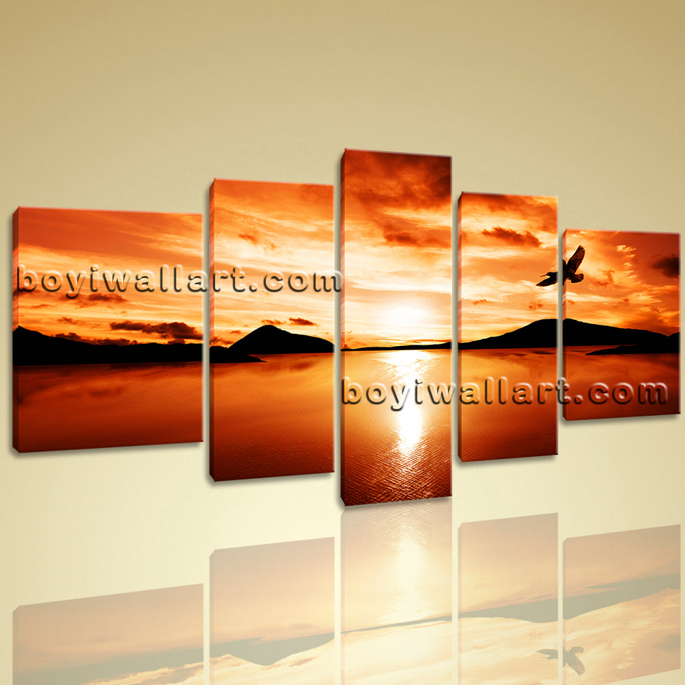 Xxl Large Contemporary Canvas Wall Art Print Sunset Glow Landscape ...