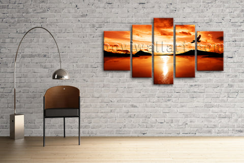 Xxl  Large Contemporary Canvas Wall Art Print Sunset Glow Landscape Home Decor