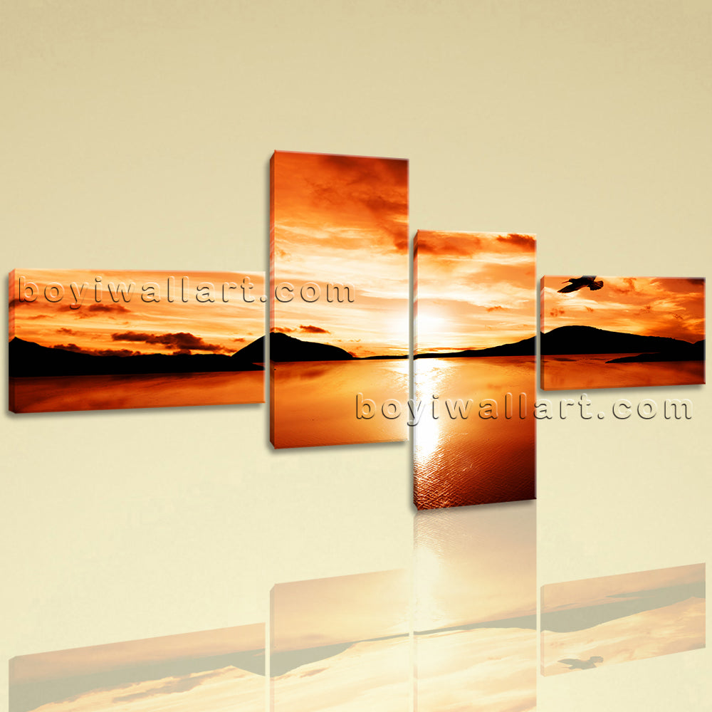 Large Landscape Sunset Glow Beach Wall Art Eagle Seascape Stretched ...