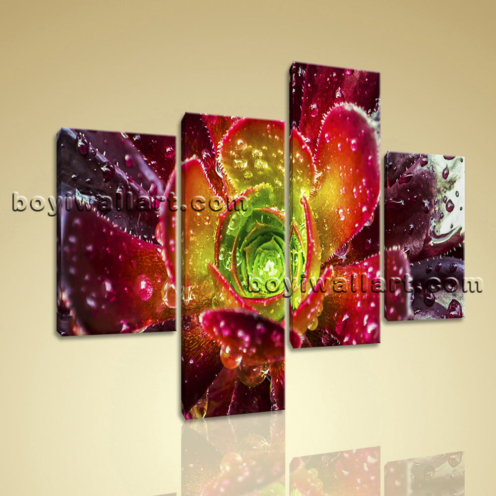 Large Floral Picture Flower Canvas Art On Living Room Tetraptych Panels print