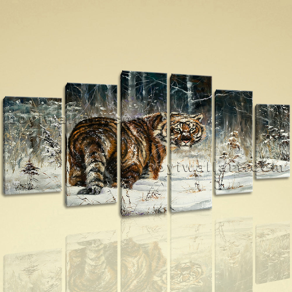fd2ab250afc Extra Large Animal Print Tiger Wall Decor Painting Dining Room 6 Panels Art