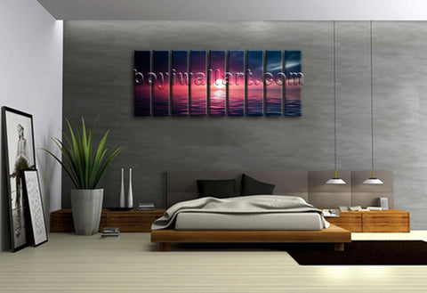 Oversized Large Contemporary Home Decor Multiple Panels Wall Art Seascape Sunset