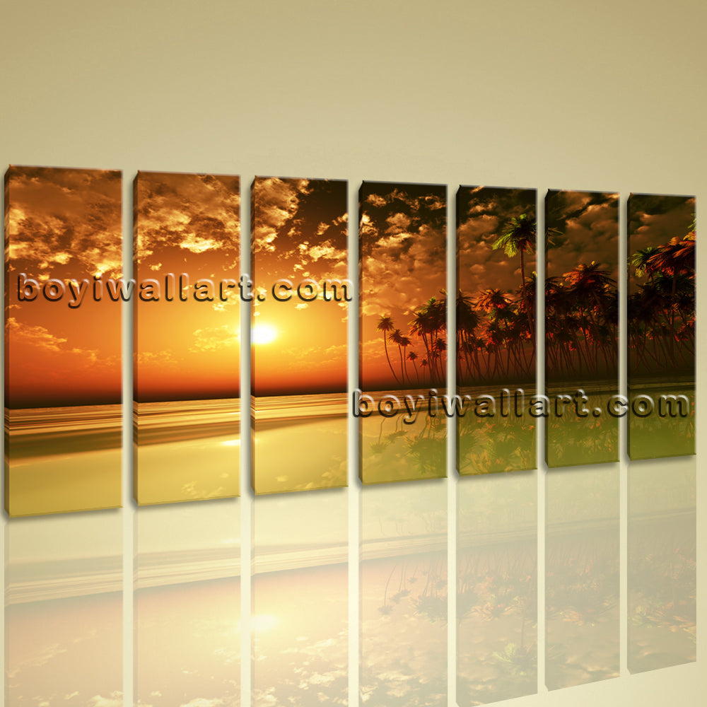 Xxl Large Wall Art Print Canvas Contemporary Sunset Palm Tree ...