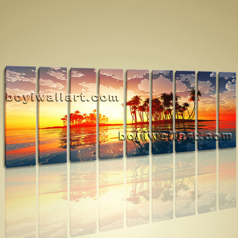 Xxl Large Wall Art Print Canvas Contemporary Sunset Palm Tree Landscape Hawaii