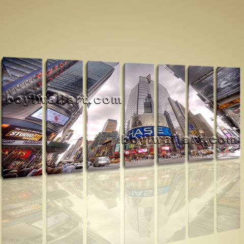 Xxl Large Wall Art Print Canvas New York Poster Nasdaq Square Street Picture
