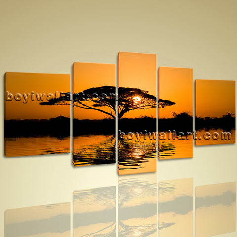 Xxl Large Landscape Sunset Glow Africa Tree Wall Art Print Canvas Stretched