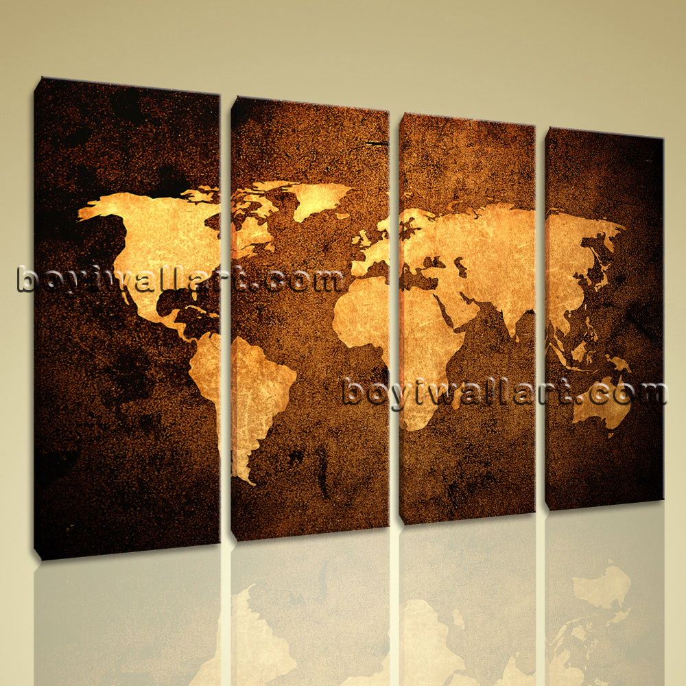 Large Contemporary Abstract Wall Art Atlas Print On Canvas Map World Home Decor