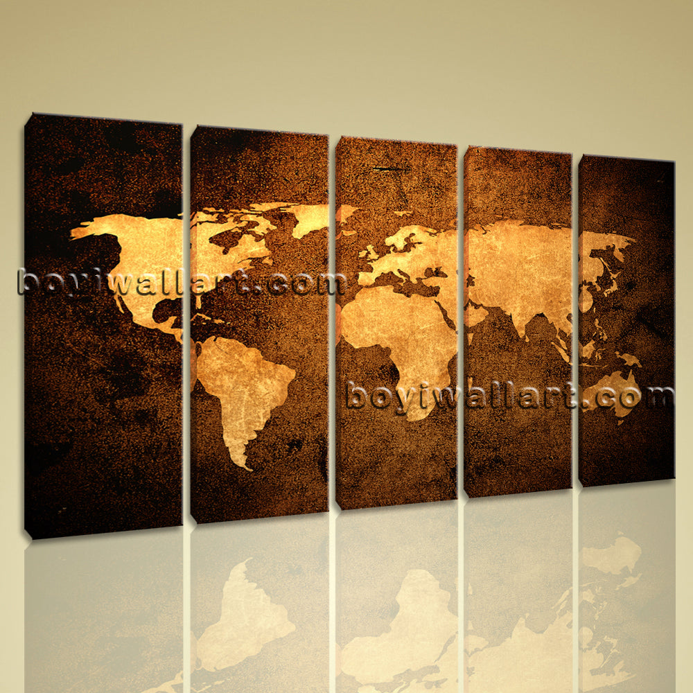 Large Contemporary Abstract Wall Art Atlas Print On Canvas World Map Home Decor