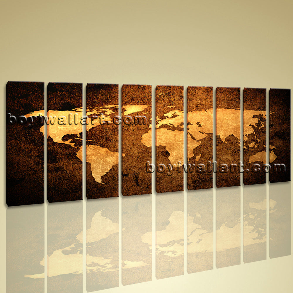 Xxl Large Contemporary Home Decor Abstract Wall Art Atlas Print Canvas World Map