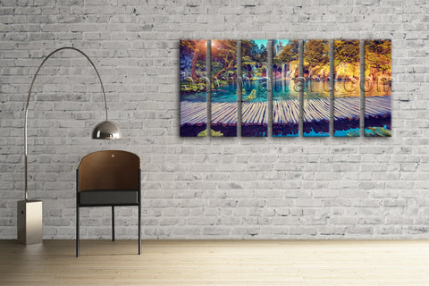 Xxl Large Hd Canvas Print Wall Art Waterfall Forest Mural Sunset Glow Home Decor