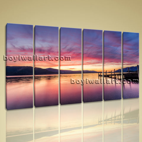 Extra Large Wall Art Hd Print Canvas Seascape At Night Sunset Glow Contemporary