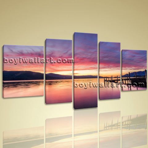 Xxl  Large Wall Art Hd Print Canvas Seascape At Night Sunset Glow Contemporary