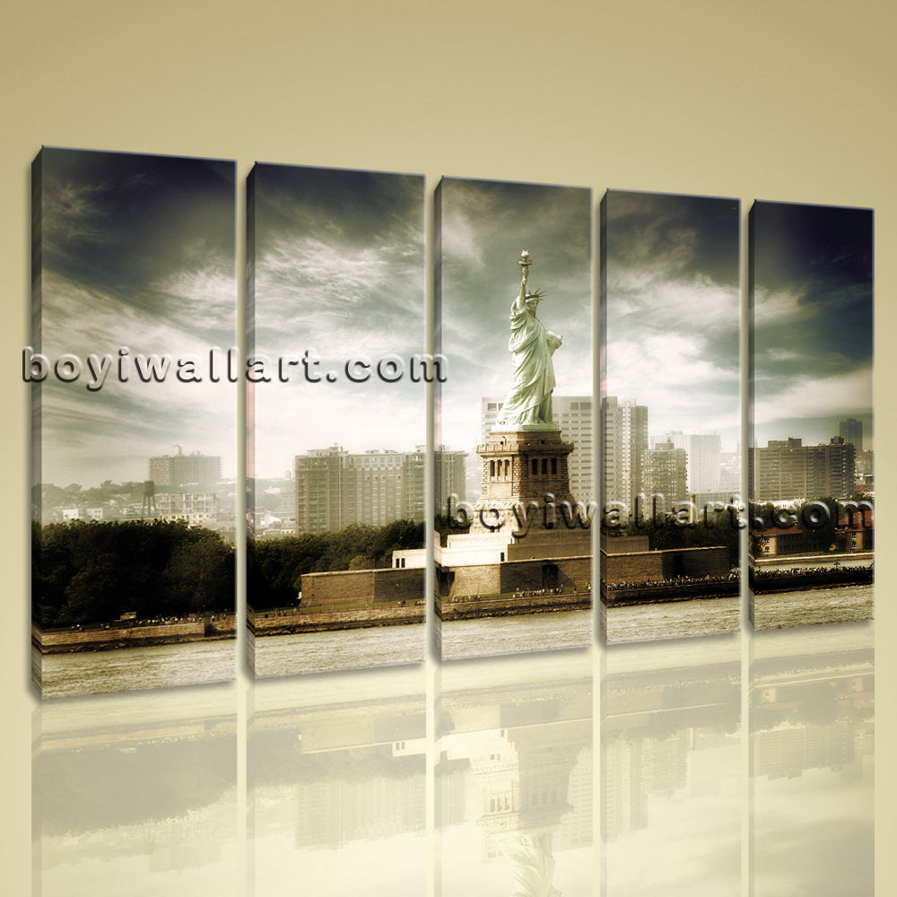 Large Canvas Wall Art Print New York Statue Of Liberty Retro Aged Home Decor