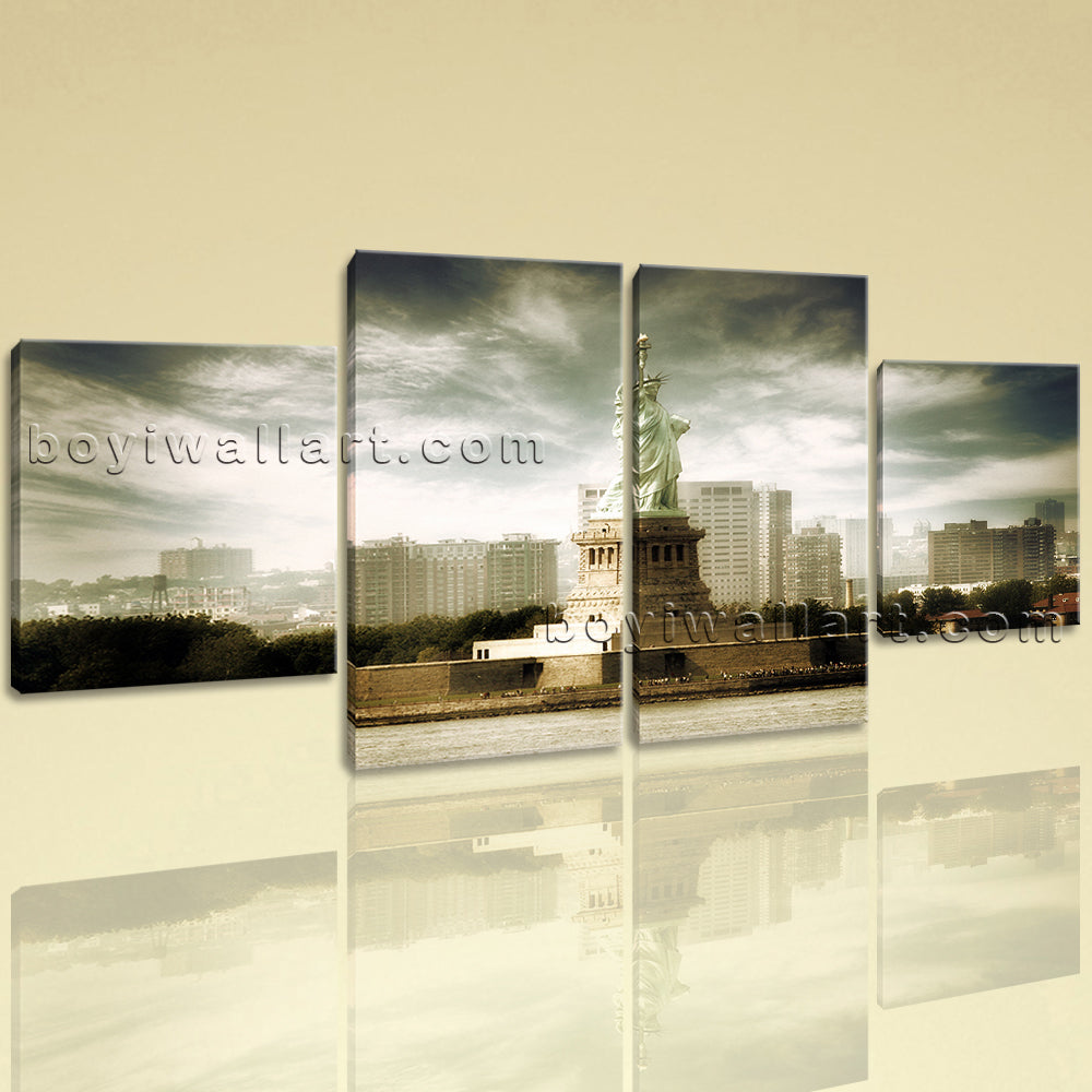 Large Architecture Print Landmarks Wall Decor Art Dining Room Tetraptych Pieces