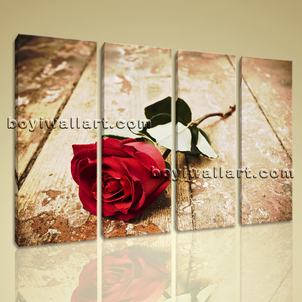 Large Contemporary Home Room Decor Wall Art Print On Canvas Rose Flower Love