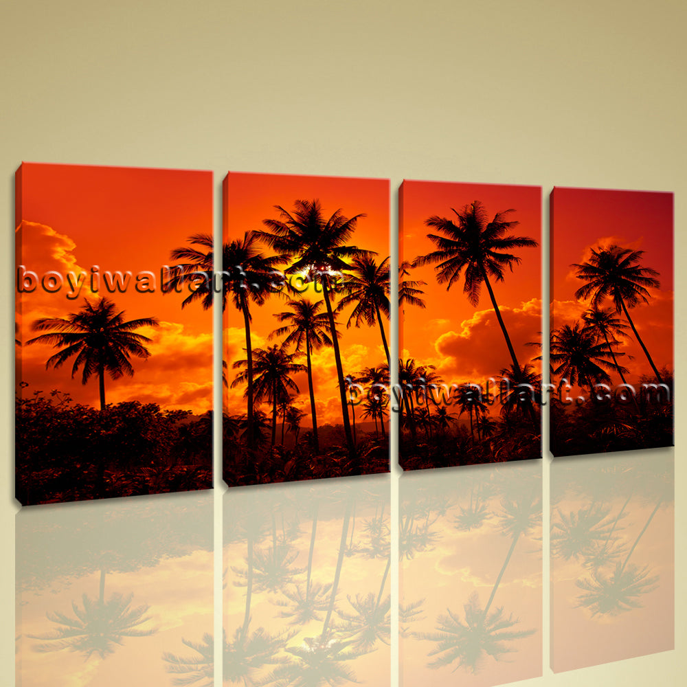 Large Contemporary Wall Art Home Room Decor Landscape Sunset Glow Palm Tree
