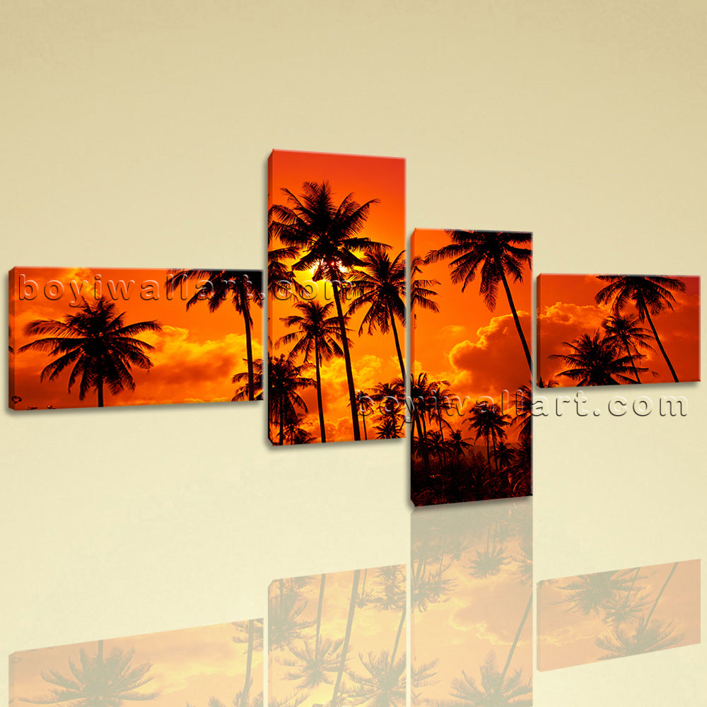 Large Contemporary Wall Art Home Room Home Decor Landscape Sunset Glow Palm Tree