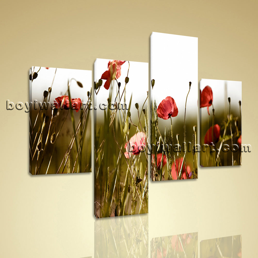 Large Floral Hd Print Poppy Canvas Art Painting Living Room Four Pieces