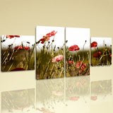 Large Floral Print Poppy Canvas Art Wall Decor Dining Room Four Panels