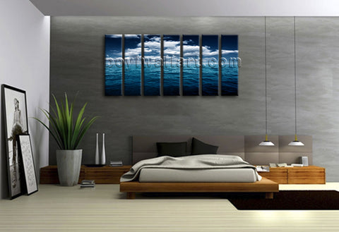 Extra Large Contemporary Seascape Wall Art Canvas Print Blue Sky Ocean Sunrise