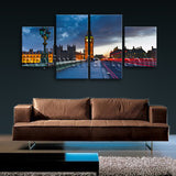 Large Architecture Print Landmarks Painting Home Dining Room Tetraptych Panels