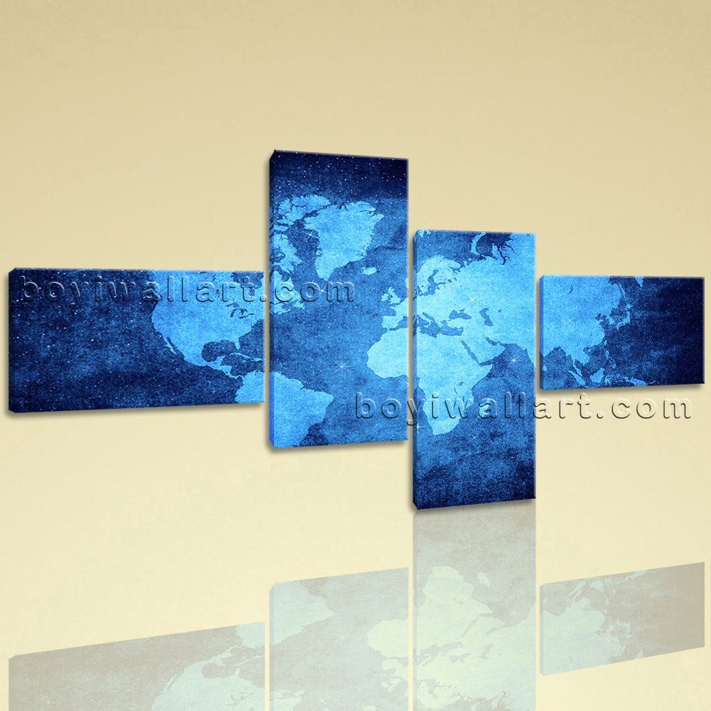 Large Contemporary Wall Art Print On Canvas Blue Map Of World Abstract Atlas