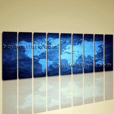 Xxl Large Contemporary Wall Art Print On Canvas Blue Map Of World Abstract Atlas