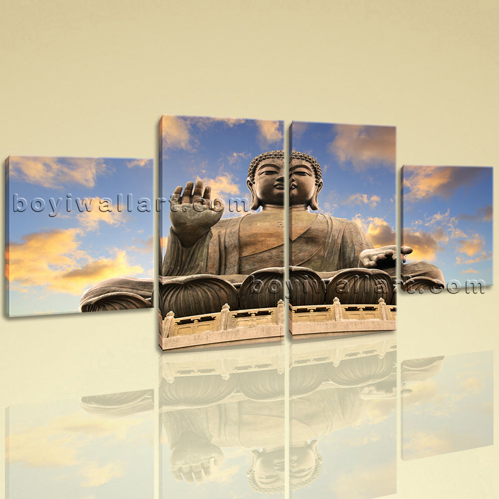 Large Feng Shui Picture Buddha Wall Art Canvas Dining Room 4 Pieces print