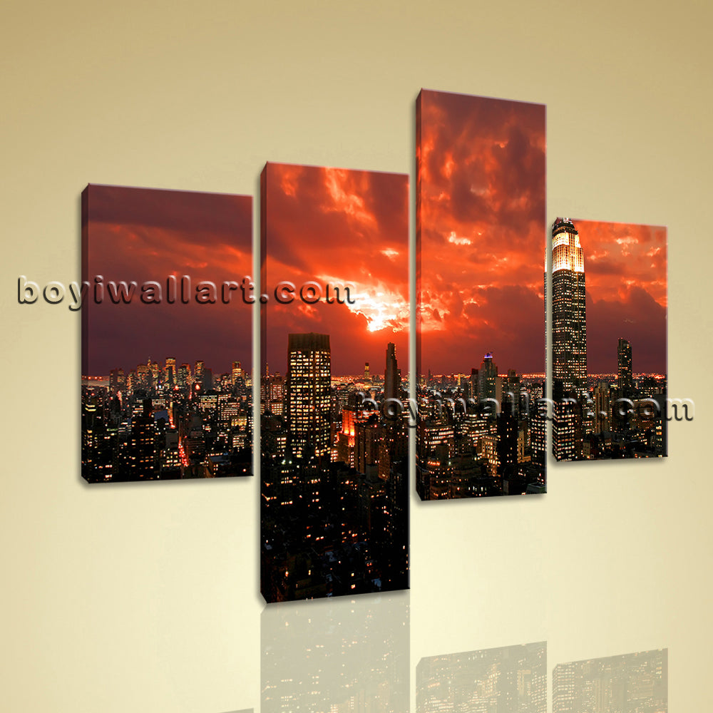 Large Cityscape Hd Print New York Wall Decor Painting Living Room Four Pieces