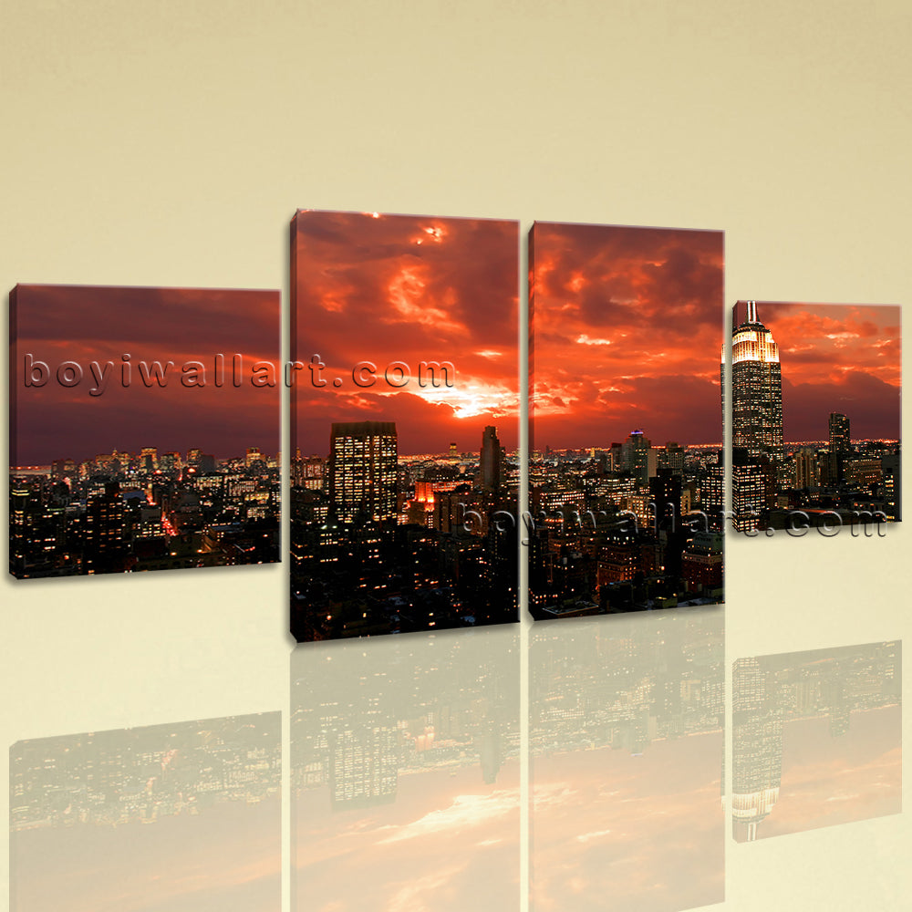 Large Cityscape Painting New York Wall Art Canvas Dining Room 4 Panels Print