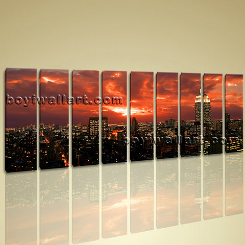 Xxl Large Contemporary Wall Art Decor Canvas Print Red Sunset Glow New York City