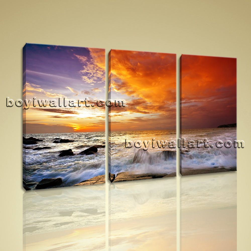 Large Framed Contemporary Landscape Sunset Glow Home Room Decor Wall Art Prints