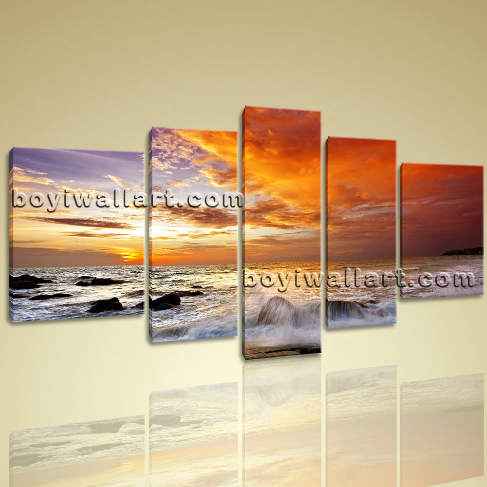 Xxl Large Contemporary Landscape Sunset Glow Home Room Decor Wall Art Prints