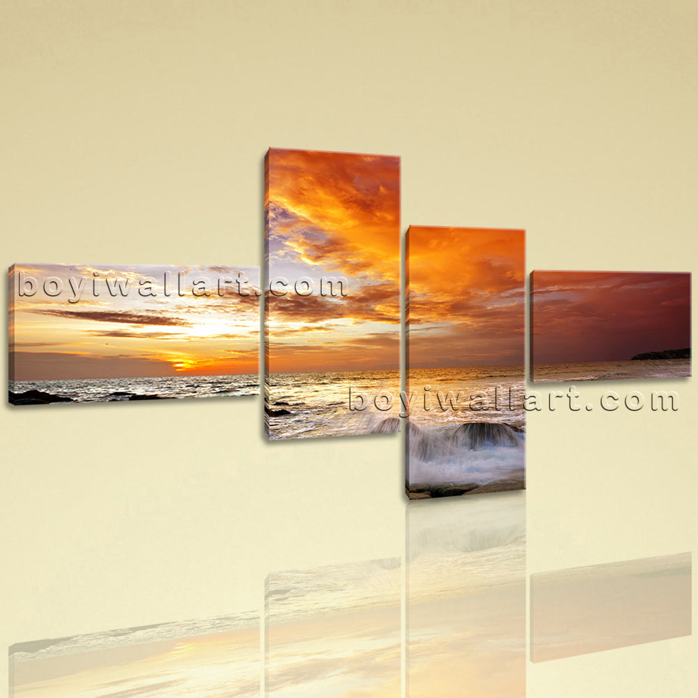 Large Contemporary Landscape Sunset Glow Home Room Decor Wall Art Prints Canvas